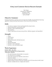 Good Objective For Customer Service Resume Entry Level Customer Service Resume Objective Examples Template