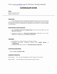 Resume Format For 1 Year Experienced Java Developer Awesome