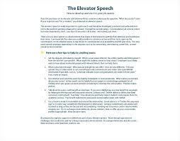 Speech For Public Accounting Elevator Pitch Template Pdf Sample