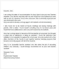 Recommendation Letter Teacher Assistant Calmlife091018 Com