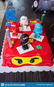 Ninja Lego Mini Figures On Birthday Cake Editorial Stock Photo - Image of  baked, cute: 179751183