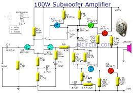 subwoofer amplifier 100w output with transistor audio schematic schematic diagram symbols at Electronic Circuit Schematic Diagrams