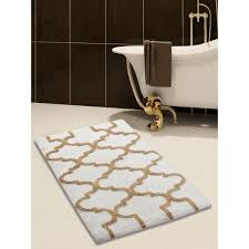 saffron fabs bath rug 100 soft cotton size 36x24 inch latex spray non skid backing ivory beige color geometric pattern hand tufted heavy 190 gsf