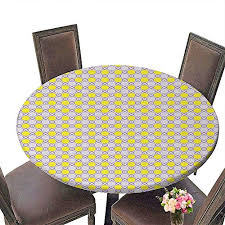 durable polyeste tablecloth elastic edge summer outdoor picnics 36 round geometric crosswise checked pattern with big dots symmetric design yellow
