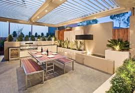lovable recessed lights for outdoor kitchen and patio design ideas with metal glass roof and minimalist table sets