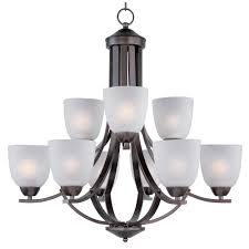 maxim lighting axis 9 light oil rubbed bronze chandelier with frosted shade 11226ftoi the home depot