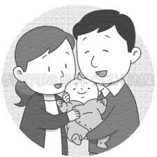 赤ちゃんを抱く夫婦のイラスト 季節行事の無料イラスト素材集