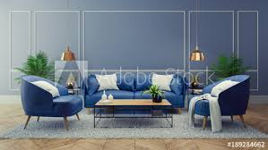 luxury modern interior of living room blue room decor concept blue sofa and black
