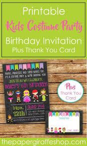 Kids Costume Party Invitation Kid Costume Birthday Party
