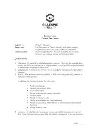 Free Property Management Leasing Consultant Job Description