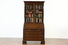 oak english vintage secretary desk bookcase secret compartments