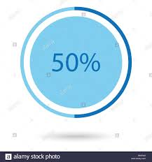 50 Percent Pie Chart Vector Illustration Blue Round Circle Pie Graph Chart With