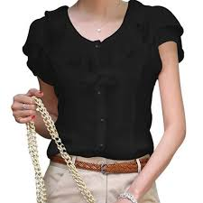 Fashion 1PC White Black Women Girl Hot Career <b>Ruffles</b> O Neck ...