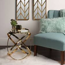 round end table side accent tables gold metal base mirrored tray top nightstand
