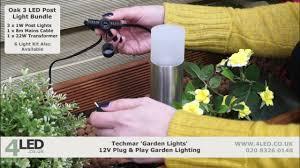techmar 12v plug play oak led post light kit