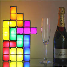 diy lighting effects. diy tetris puzzle light stackable led desk lamp constructible block toy retro game tower diy lighting effects