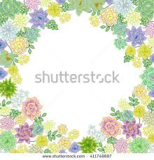 Small Picture Succulent Garden Border Card Design Greeting Stock Vector