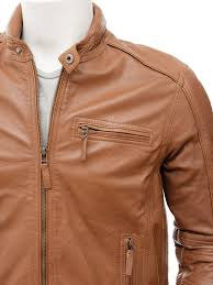 men s leather biker jacket in tan kalingrad side