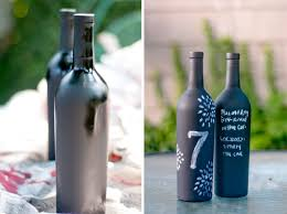 DIY table numbers, totally doing this! Spray paint empty wine bottles with chalkboard  paint