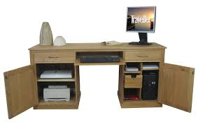 mobel oak pedestal office desk furniture baumhaus mobel solid oak mounted widescreen