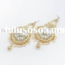 antique design peacock graceful pearl chandelier earrings white gold color