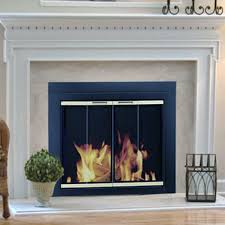Pleasant Hearth Arrington Fireplace Screen and Bi-Fold Track-Free Glass  Doors - Black and Gold | Hayneedle