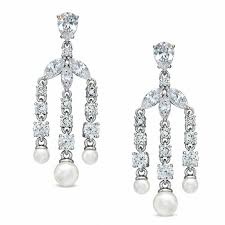 ava nadri simulated pearl and cubic zirconia chandelier earrings in