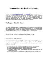 Template For Biographical Sketch Template For Students Example Pdf Format