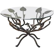 wrought iron coffee table round glass top