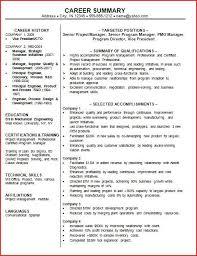Management Summary Template Enchanting Resume Professional Summary Sample Hcsclubtk