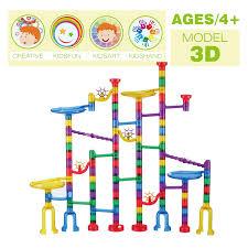 8 of 12 127pcs colorful kids marble race run maze track building blocks diy fun