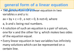 general form of a linear equation in two variables