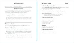 Two Page Resumes Page Resume Format Of Two Page Resumes Two
