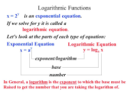 2 logarithmic functions x 2y is an exponential equation if we solve for y