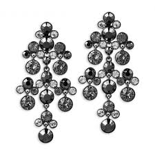 black chandelier earrings givenchy hematite tone jet stone and swarovski element chandelier earrings no color