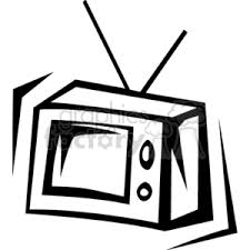 tv clipart black and white. a black and white television with rabbit ears tv clipart r