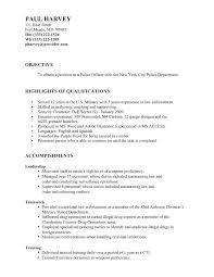 Resume For Police Officer Police Officer Resume With Military Experience Skills Marine Corps