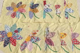 vintage applique quilt blocks, 40s 50s cotton print fabric flowers ... & vintage applique quilt blocks, 40s 50s cotton print fabric flowers, big  daisies on yellow Adamdwight.com