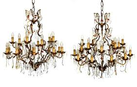 antique golden wrought iron crystal drops chandeliers