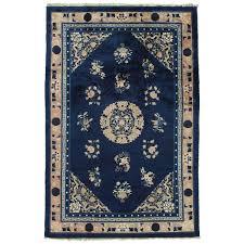 antique peking chinese rug handmade oriental rug blue ivory peach navy