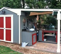 my husband worked very hard on his man cave bbq pit attached to his shed he used recycled kitchen counterade the cabinets himself