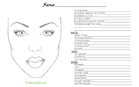 blank makeup face chart template printable charts
