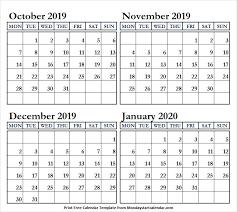 Blank October November December 2019 And January 2020 Calendar
