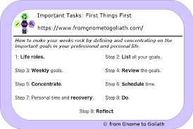 Professional Goals List Important Tasks First Things First Thrive Global