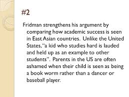 """america needs its nerds"""" by  leonid fridman essay anaylsis    ppt      fridman strengthens his argument by comparing how academic success is seen in east asian"""