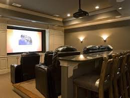 basement home theater room. home theater: cool idea with the bar stools as third row of seats. basement theater room