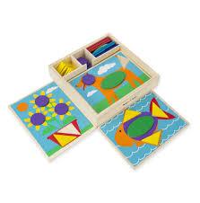 Pattern Blocks Unique Beginner Pattern Blocks 48 TwoSided Boards Melissa Doug