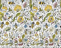 Floral Pattern Cool Abstract Floral Pattern With Bees By Kudryashka GraphicRiver
