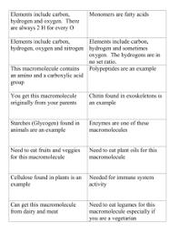 Macromolecules Chart Ap Biology Macromolecule Assessment Choose One Of The