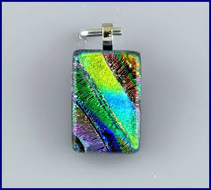 fused glass necklace pendant dichroic glass